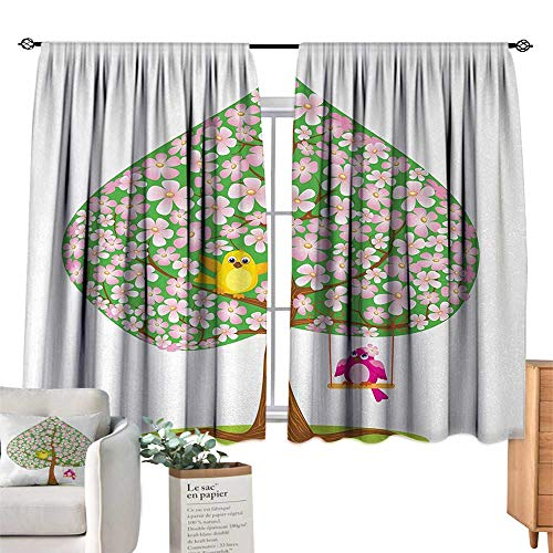 RuppertTextile Sliding Curtains Animal,Heart Shape Spring Tree with Flowers Blossom and Singing Bird Valentines Love,Pink Green Brown, Suitable for Bedroom Living Room Study, etc.55 Wx45 L