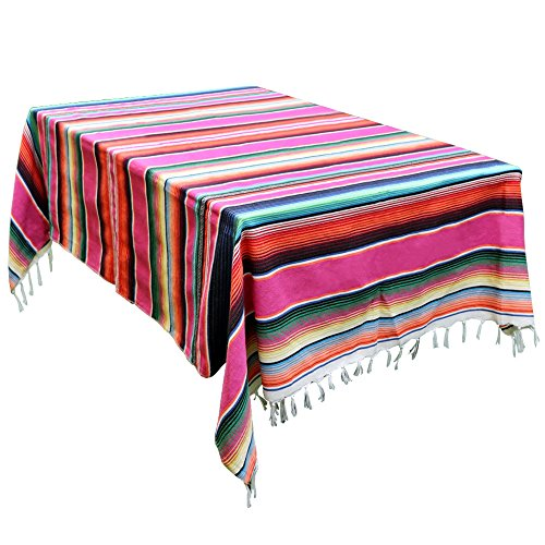 OurWarm 59 x 84 Inch Mexican Blanket Striped Tablecloth for Mexican Wedding Party Decorations, Large Square Cotton Mexican Serape Blanket Outdoor Table Cover Table Cloth]()