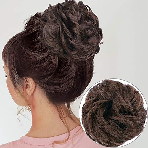 MORICA 1PCS Messy Hair Bun Hair Scrunchies Extension Curly Wavy Messy Synthetic Chignon for Women Updo Hairpiece(Color:8#)