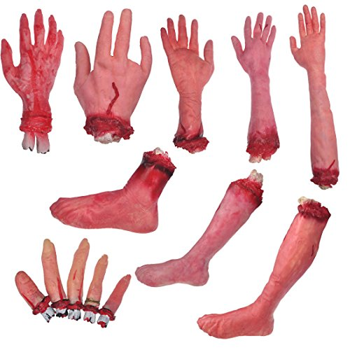 YUFENG Scary Bloody Body Fake Prank Halloween Party Props Decoration Human Broken Hand Legs Fingers Body Parts Set of (Scary Halloween Office Pranks)