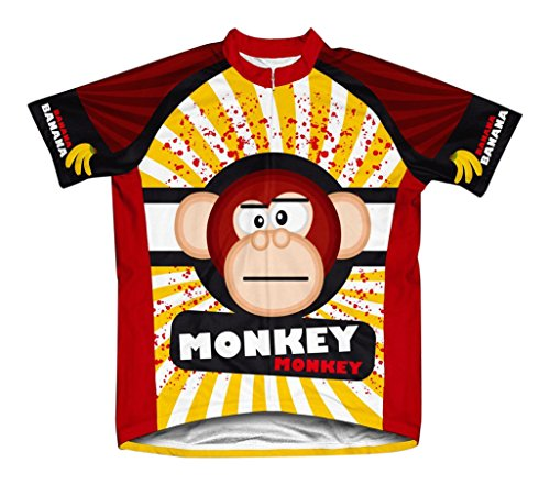 Scudo Crazy Banana Monkey Microfiber Short-Sleeved Cycling Jersey, 2XL - Microfiber Bicycle Jersey