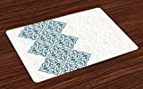 Lunarable Ethnic Place Mats Set of 4, Arabesque Pattern Vintage Damask Effects Curved Persian Floral Arabian Inspired Print, Washable Fabric Placemats for Dining Room Kitchen Table Decoration, Teal