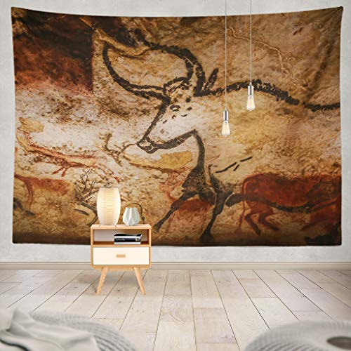 KJONG Valley France Animals Wall Cave World Heritage List Valley France Art Europe France France Southern Decorative Tapestry,60X80 Inches Wall Hanging Tapestry for Bedroom Living Room