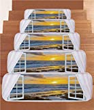 iPrint Non-Slip Carpets Stair Treads,Coastal,Open Window View of The Sky with Clouds Rising Sun Seascape Grass Morning Scenery,Multicolor,(Set of 5) 8.6''x27.5''