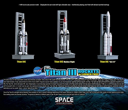 Dragon Models Titan III Rockets with Launch Pads Space Rockets, Set of 3, 1:400 Scale