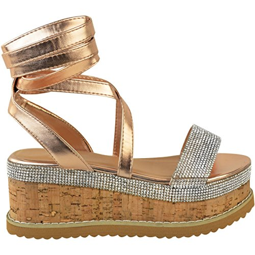 Fashion Thirsty Heelberry® Womens Ladies Flatform Diamante Wedge Sandals Platform Ankle Lace up Summer Size Rose Gold Metallic ioZzHUVmMT
