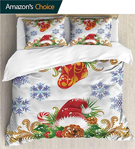 Home Duvet Cover Set,Box Stitched,Soft,Breathable,Hypoallergenic,Fade Resistant Print Quilt Cover Set White Queen Pattern Bedding Collection-Christmas Stocking Santa Hat (80