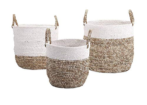 (IMAX 11609-3 Shoelace and Raffia Woven Baskets (Set of 3) )