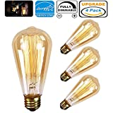 Heofean 4 Pack Vintage Light Bulb 60W, E27 Screw Edison Bulb ST64 Retro Light Bulb (Old Fashioned Style), Squirrel Cage Tungsten Filament Glass Antique Lamp | 2700K