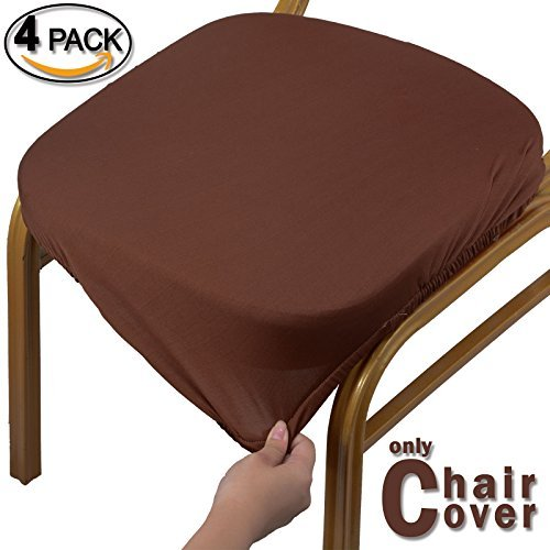 Voilamart Chair Seat Covers, Dining Chair Cover, Stretchable Soft Chair Protectors Slipcovers for Bar Stools Dining Room Patio Office Chair, Pack of 4, Coffee