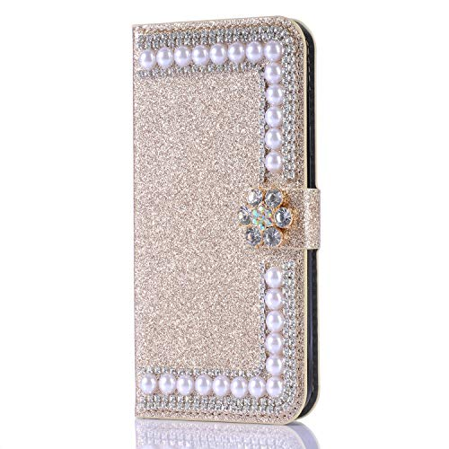 Glitter Wallet Case for Samsung Galaxy S10e,Gostyle Bling Diamond 3D Pearl Flip Leather Case with Card Holder,Crystal Rhinestone Flower Magnetic Clasp Stand Cover-Pearl Gold