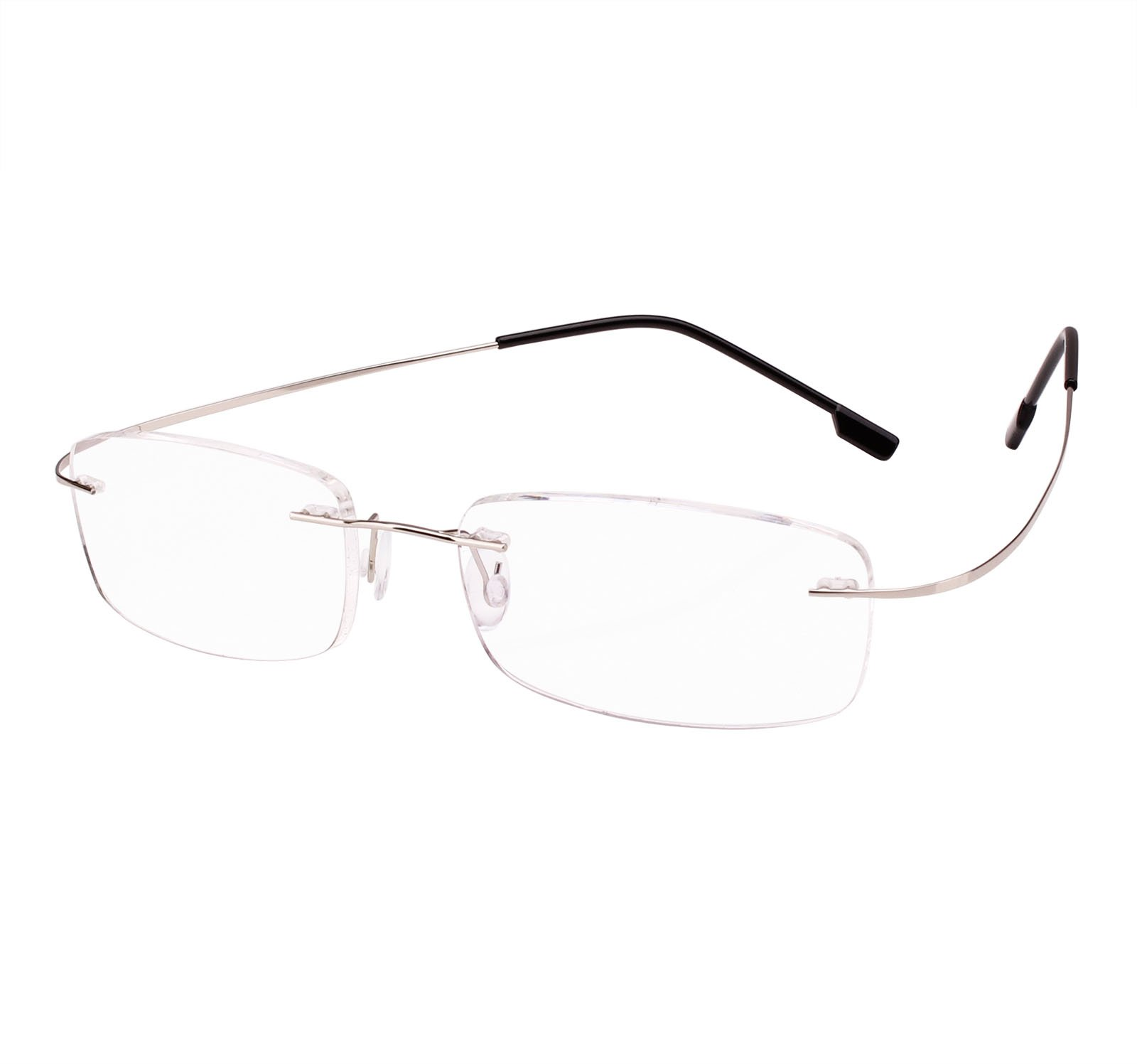 Beison Memory Titanium Stainless Steel Rimless Flexible Reading Glasses (Silver, 2.0)