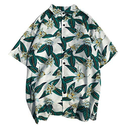 YY1950s Men's Summer Casual Fashion Shirt Casual Print Botanical Flower Style Beach Shirt Soft Comfortable Breathable Short Sleeve Top (White, M) ()