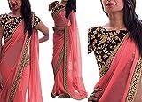 Saree Center Women's Georgette Saree (Akshara_Pink_Free Size)