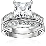 Platinum Plated Sterling Silver Cubic Zirconia Princess Solitaire Ring with Princess-Cut Side Stones and Princess-Cut Bridal Set Wedding Band, Size 6