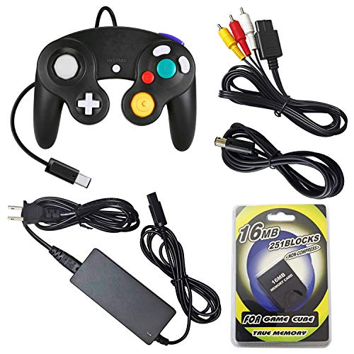 (AreMe Gamecube Accessories Bundle - AC Power Supply Adapter, AV Cable, Wired Controller, Extension Cable and Memory Card for Nintendo Gamecube NGC System )