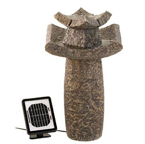 USA Premium Store ASIAN TEMPLE SOLAR & ELECTRIC WATER FOUNTAIN GARDEN YARD PATIO DECOR NEW~12844