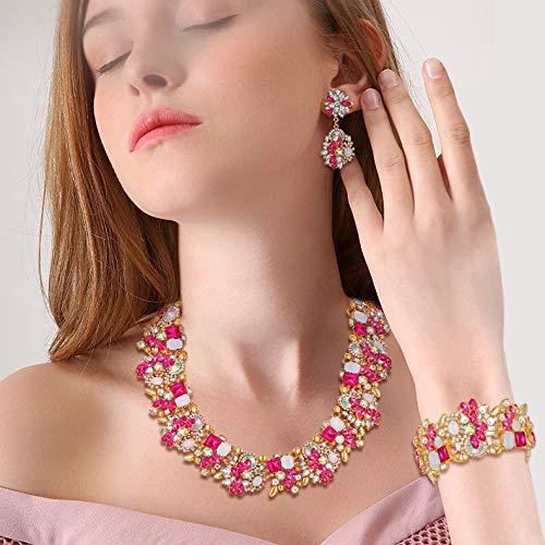 Cristallo Vintage Floreale Girocollo Chunky Choker Collana Orecchini Bracciale Set Rosa Antico Oro-Fondo Flyonce Gioielli Donna