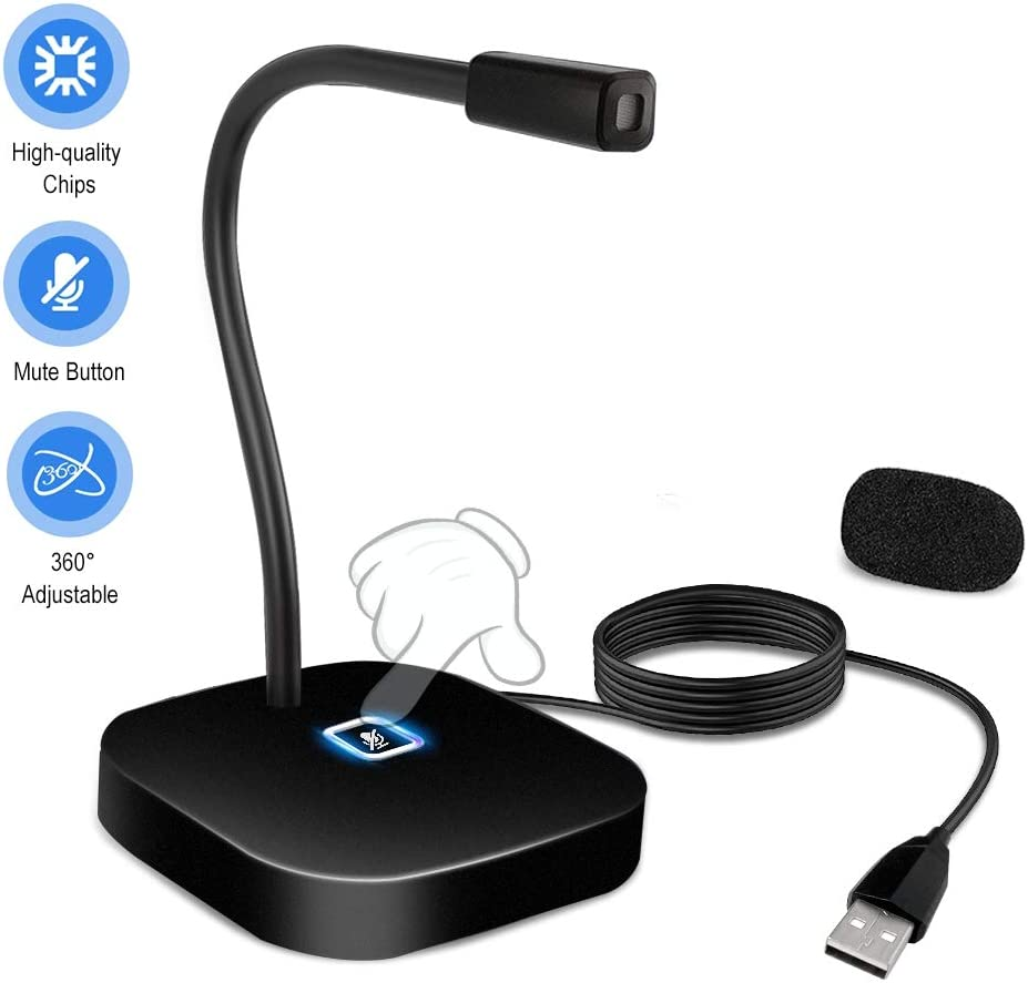 USB Desktop Microphone with Mute Button,XAIOKOA USB Microphone for Computer,Gooseneck Condenser Mic Compatible with PC, Laptop, Mac, ps4