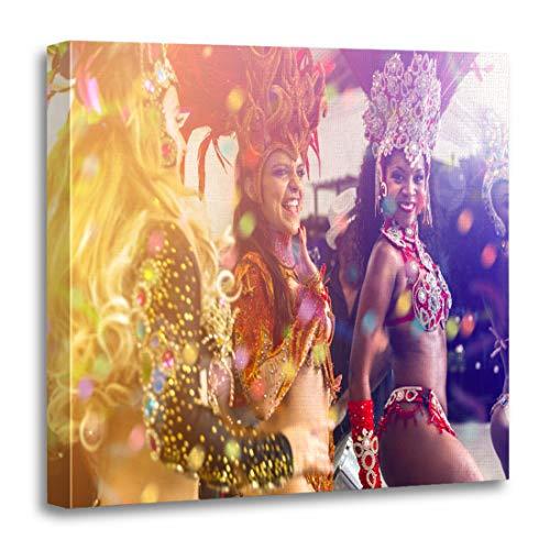 (Semtomn Canvas Wall Art Print Colorful Brazilian Women Dancing Samba Music at Carnival Party Artwork for Home Decor 12 x 12 Inches)