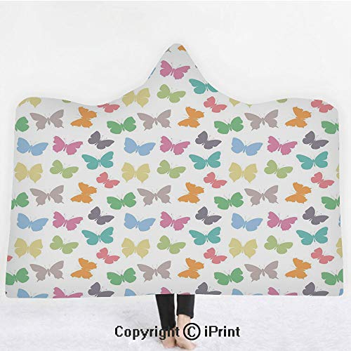"""(Butterfly 3D Print Soft Hooded Blanket Boys Girls Premium Throw Blanket,Soft Colored Spring Season Animal Silhouettes in Various Forms Abstract Nature Decorative,Lightweight Microfiber(Kids 50""""x60"""")Mu)"""