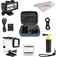 ADIKA Underwater Dive Kit for GoPro Hero 5 Hero 6 (30m Waterproof Scuba LED Lights Lighting + GoPro Floating Handle Hand Grip Monopod + 40m Clear for GoPro Waterproof Case for Hero 5 6 Housing) By