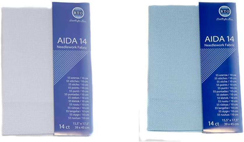 Pale Blue Aida 14ct Fabric Pack 45cm x 30cm