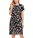 Imposes Short Sleeve Nightgown Oversized Floral Print Sleep Dress For Women With Buttons,X-Large,Blue Floral