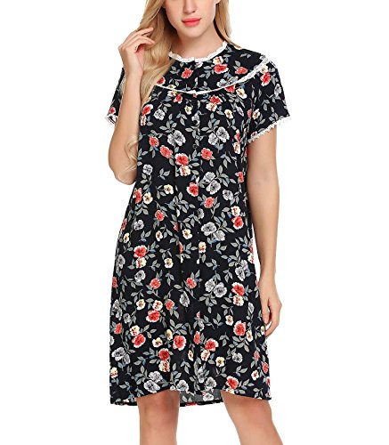 Imposes Women Soft Nightgowns, Floral Print Lace-Trimmed Nightdress Long Duster Robe
