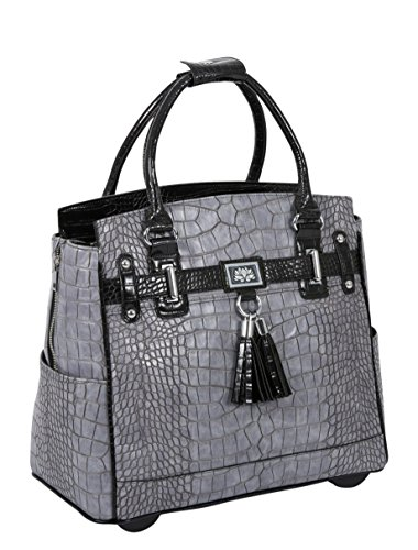 Tote Pocket Fully Two Lined (JKM and Company Greystone Alligator Crocodile Compatible with Computer iPad, Laptop Tablet Rolling Tote Bag Briefcase Carryall Bag)