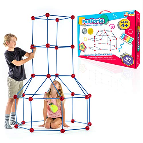 Fun Forts Kids Tent for Kids - 81 Pack STEM Toys Fort Building Kit, Building Toys Play Tent Indoor and Outdoor Playhouse for Kids Construction Toys with 53 Rods and 28 Spheres (Red, Blue)