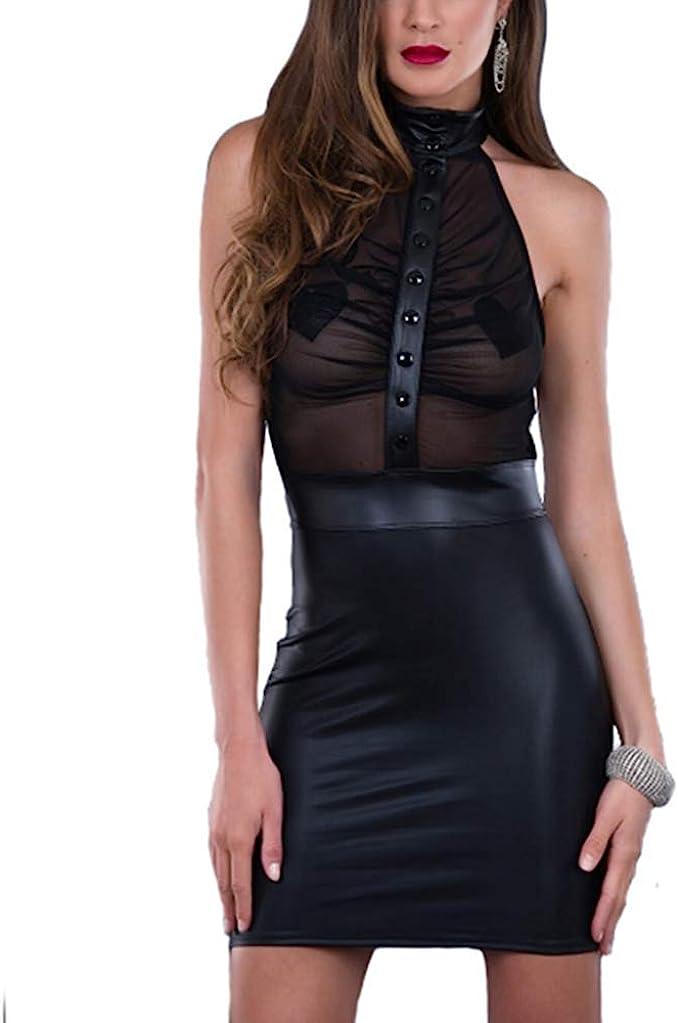 Frauen Kunstleder Wet Look figurbetontes ärmelloses Kniekleid Dessous Clubwear