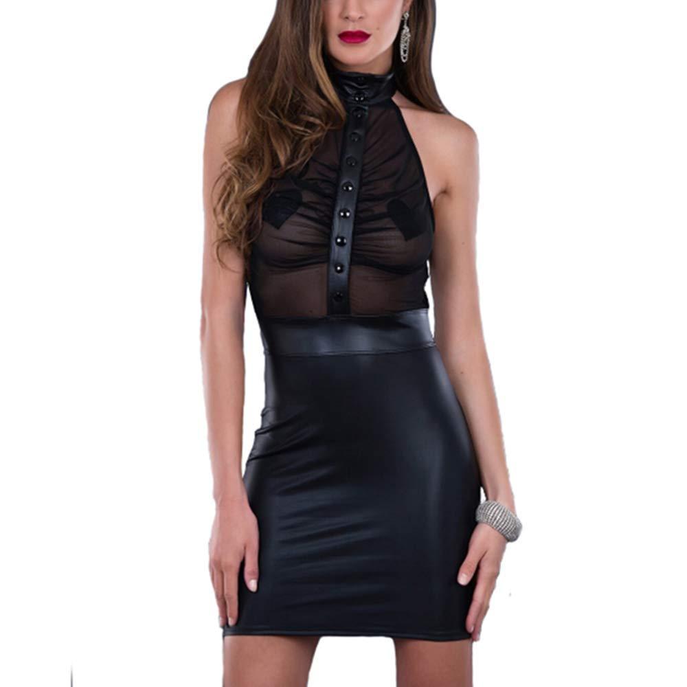 Damen Ärmellos Wet Look Shiny Bodycon Kunstleder Club Abend Party Minikleid