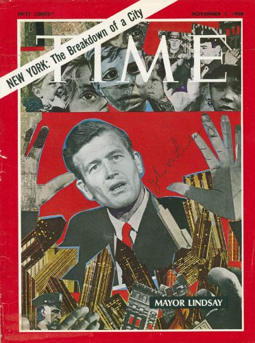 John V. Lindsay Signed Time Magazine Cover And Personal Letter To - Personal Signed Letter