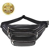 Fanny Pack for Men Waist Bag Black Belt Fanny Pack PU Leather Belt Bag Stylish Waist Pack for Womens