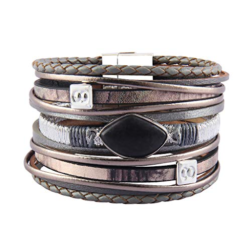 Leather Cuff Bracelet for Women Agate Stone Braided Wrap Bracelets Wide Cuffs with Magnetic Clasp for Mum Girl Boy -