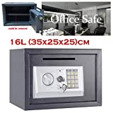 Cash Safe Box Large Space (35x25x25) cm, Digital Code and Override Key, 4 Pre-drilled Holes Safety Mounting to Wall Floor Shelf Cabinet, Grey (16L)