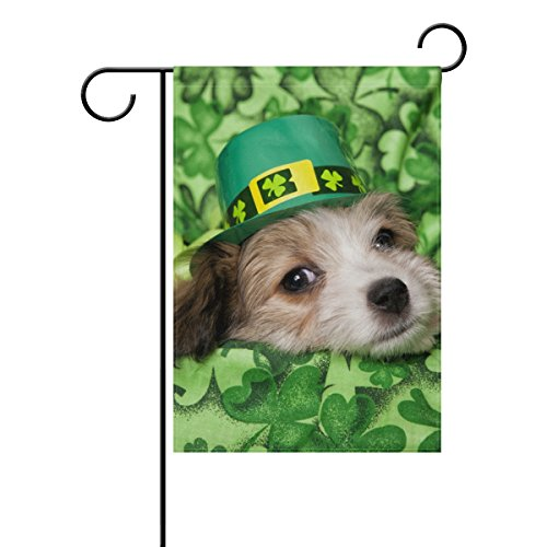 Vantaso Garden Flag Decorative St Patrick's Day Cute Dog On Green Clovers Blankets Background Polyester Double Sided Printing Fade Proof for Outdoor Courtyards Garden 28×40(in)
