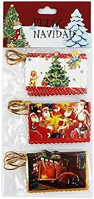 110068 - Pack de 36 Mini tarjetas navideñas, para invitación o regalo, tamaño 6,5x4cm, diseños variados: Amazon.es: Oficina y papelería