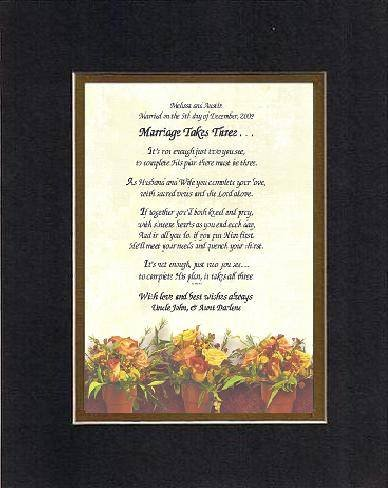 Personalized Touching and Heartfelt Poem for Wedding - Marriage Takes Three Poem on 11 x 14 inches Double Beveled Matting (Black on Gold -