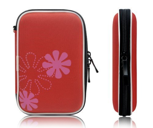 """Xcessor Protectron T7 2.5"""" Inch Portable Case For Hard Drive HDD. Protective Bag With Flower Texture. Red"""