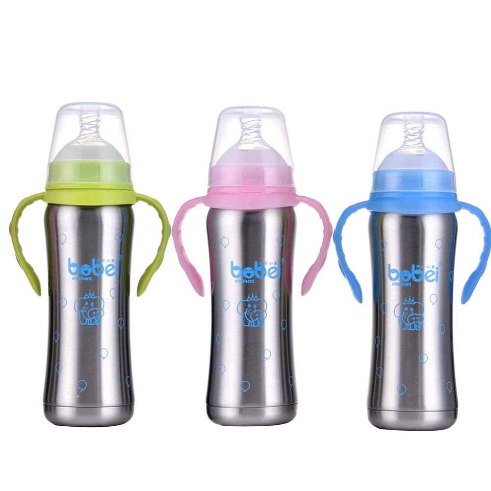 Mlec tech Baby Breastmilk Bottle Containers, 240ml Multi-Purpose 360 Degree Rotation 304 Stainless Steel Double-layer Baby Infant Child Sippy Bottle