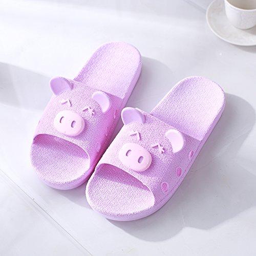 verano cerdo cool una de baño Fankou antideslizante de 34 familia femenino baño interiores de púrpura 33 nbsp;Zapatillas hogar zapatillas lindo macho tres verano 1qEAq