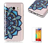 For Samsung Galaxy J7 2016 Case [with Free Screen Protector],Funyye Soft TPU Gel Case Cute Simple [Colorful Painting Pattern] Ultra Slim Flexible Protective Skin Back Cover for Samsung Galaxy J7 2016 - Blue Flower