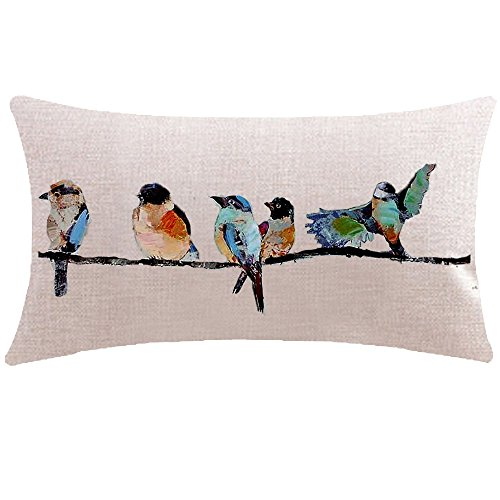 ITFRO Hand-Painted Oil Painting Rustic Forest Wildlife Birds Tree Branches Waist Lumbar Cotton Linen Throw Pillow Case Cushion Cover Long Oblong 12x20 - Oblong Bed Linens Pillow