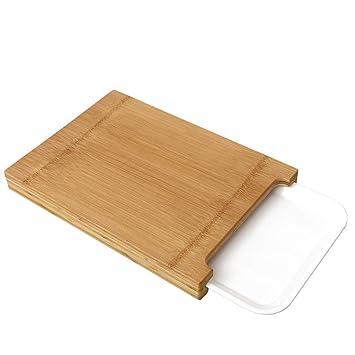 Tabla de cortar con bandejas de goteo, tabla de cortar de bambú con plato de