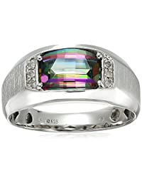 Men's Sterling Silver Mystic Fire Topaz and Diamond Gents Ring, Size 10.5