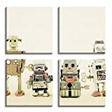 JP London 4 Panels 14in 4 Huge Gallery Wrap Canvas Wall Art Retro Robot Machines Lineup At Overall 28in QDCNV2359