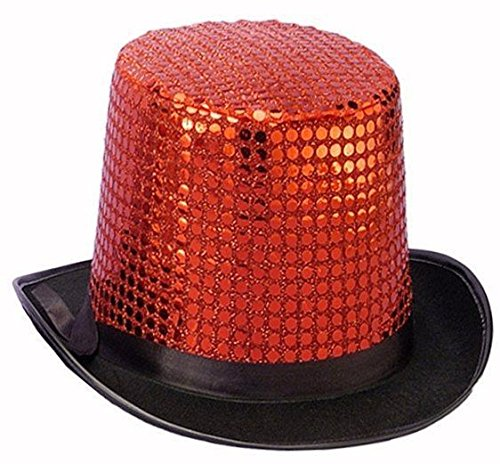 Forum Novelties Men's Sequin Novelty Top Hat, Red, One Size