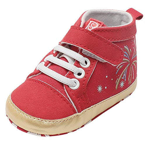 - Respctful✿Toddler Baby Girls High Top Shoes Canvas Infant First Walkers Soft Sole Crib Shoes Red